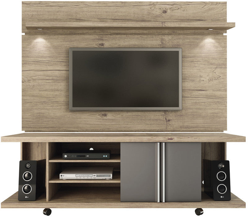 Manhattan Comfort 2-1456881461 Carnegie and Park 1.8 Collection Natue and Onyx Finish