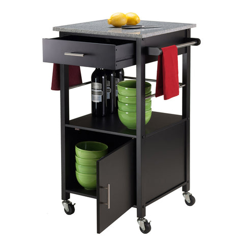 Winsome Wood 20023 Davenport Kitchen Cart with Granite Top Black - Peazz.com - 1