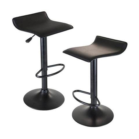 Winsome Wood 20239 Obsidian Set of 2 Adjustable Swivel Air Lift Stool, Backless, Black PVC Seat, Black Metal Post and Base - BarstoolDirect.com