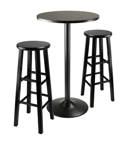 "Winsome Wood 20331 3pc Round Black Pub Table with two 29"" Wood Stool Square Legs - BarstoolDirect.com - 1"
