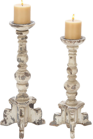 Benzara 20408 Wooden Candle Holder In Contemporary Rubbed Finish - Set Of 2