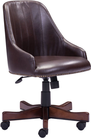 Zuo Modern 206082 Maximus Office Chair Color Brown Poplar Finish - Peazz.com - 1