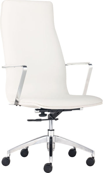 zuo 206147 herald high back office chair white zmodernstore. Black Bedroom Furniture Sets. Home Design Ideas