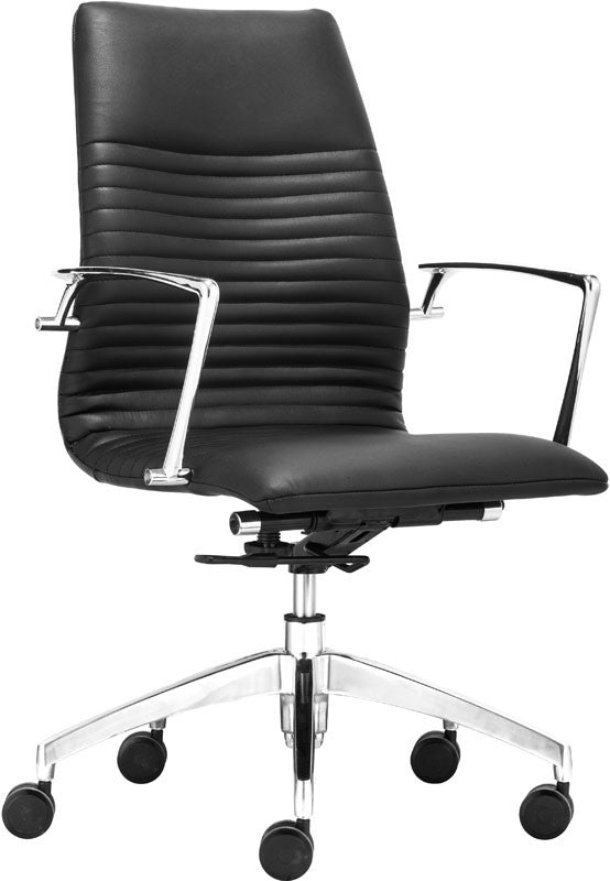 Zuo Modern 206170 Lion Low Back Office Chair Color Black Chromed Steel Finish ZUO-206170