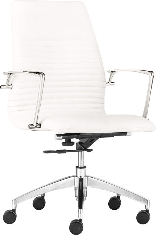 Zuo Modern 206171 Lion Low Back Office Chair Color White Chromed Steel Finish