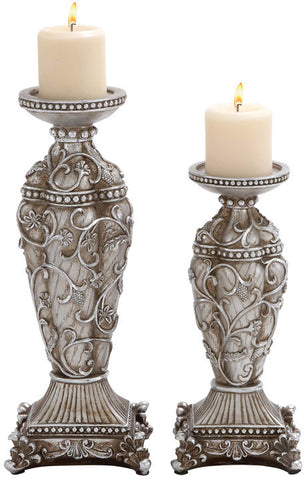 Benzara 20951 Polystone Candle Holder With Classic Design In Set Of 2