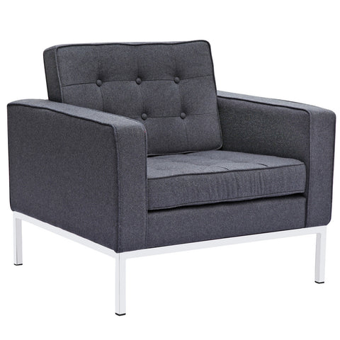 Fine Mod Imports FMI2214-1-gray Button Arm Chair in Wool, Gray - Peazz.com - 1