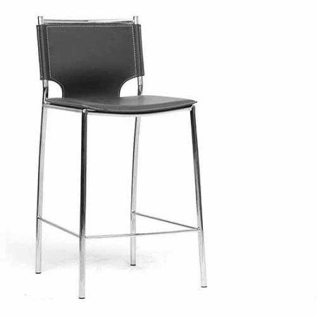 Wholesale Interiors ALC-1083A-65 Black Montclare Black Leather Modern Counter Stool - Set of 2