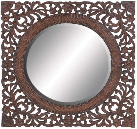 Benzara 23703 Oval Shaped Mirror In Brown Finish With Wooden Frame