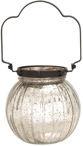 "Bayden Hill Mercury Glass Mtl Lantern 8""W, 15""H - Peazz.com"