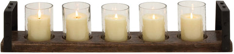 Benzara 23878 Classy Wood Metal Glass Candle Holder