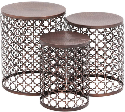 Benzara 23941 The Floral Set Of 3 Metal Accent Table