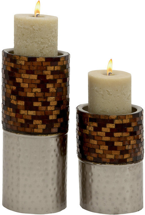 "Bayden Hill Metal Mosaic Candle Holder S/2 9"", 14""H"