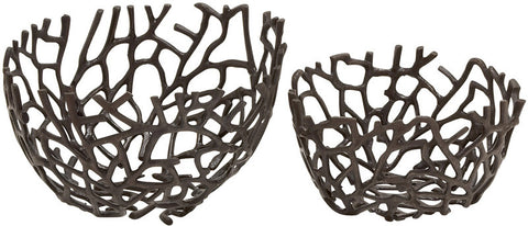 Benzara 24107 Stylish Aluminumdecorative Oval Bowl Set Of 2