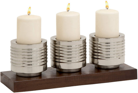 Benzara 24151 Cool And Modern Metal Wood Candle Holder