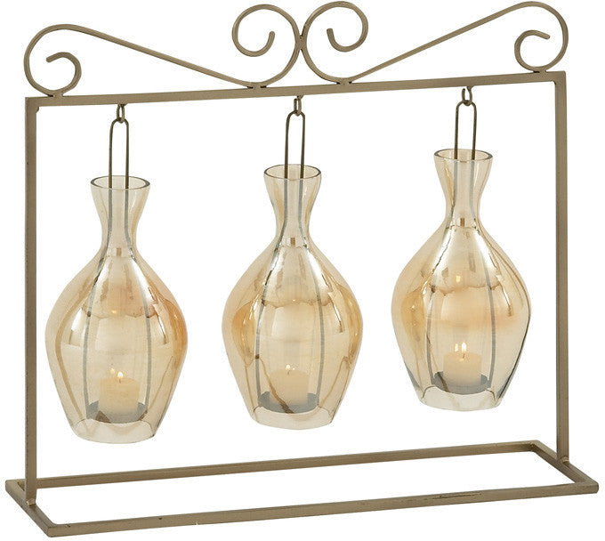 """Bayden Hill Metal Glass Candle Holder 22""""W, 20""""H"""