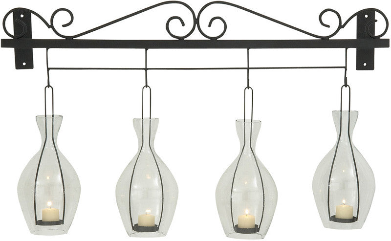 """Bayden Hill Metal Glass Wall Candle Holder 33""""W, 19""""H"""