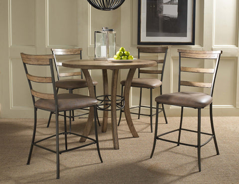 Hillsdale 4670CTBWS5 Charleston 5-Piece Counter Height Round Wood Dining Set w/Ladder Back Stool