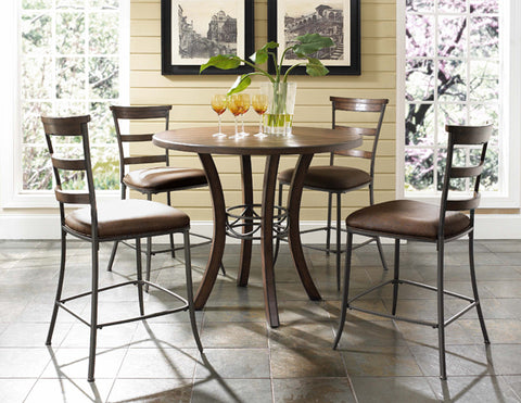 Hillsdale 4671CTBWS5 Cameron 5-Piece Counter Height Round Wood Dining Set w/Ladder Back Stool