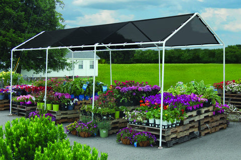 ShelterLogic 25844 8X20 Ft. Shade Canopy, 8-Leg Frame, Black Polyethylene Mesh Cover - Peazz.com - 1