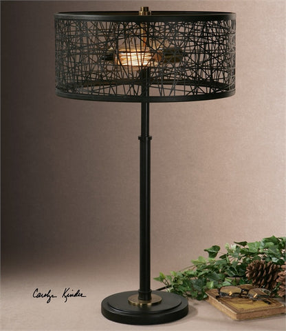 Uttermost Alita Black Drum Shade Lamp (26131-1) - UTMDirect