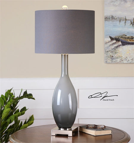 Uttermost Vallo Smoke Gray Glass Lamp (26180) - UTMDirect