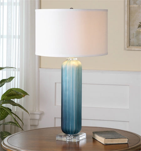 Uttermost Caudina Frosted Blue Glass Lamp (26193-1) - UTMDirect
