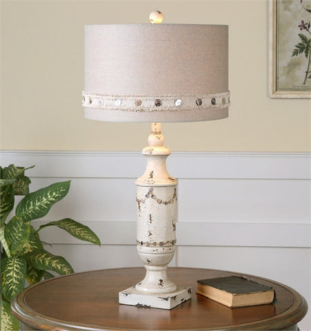 Uttermost Lacedonia Distressed Ivory Lamp (26198-1) - UTMDirect