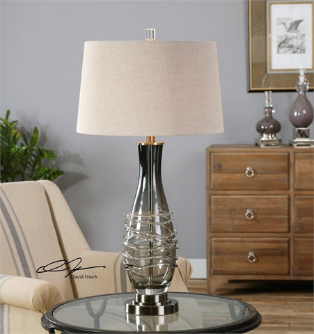 Uttermost Durazzano Gray Glass Table Lamp (26905) - UTMDirect