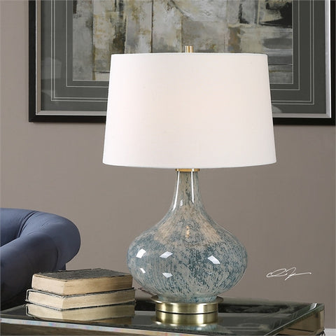 Uttermost Celinda Blue Gray Glass Lamp (27076) - UTMDirect