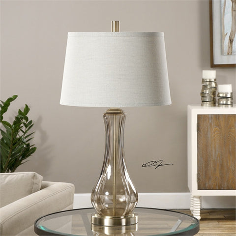 Uttermost Cynthiana Smoke Gray Glass Lamp (27085) - UTMDirect