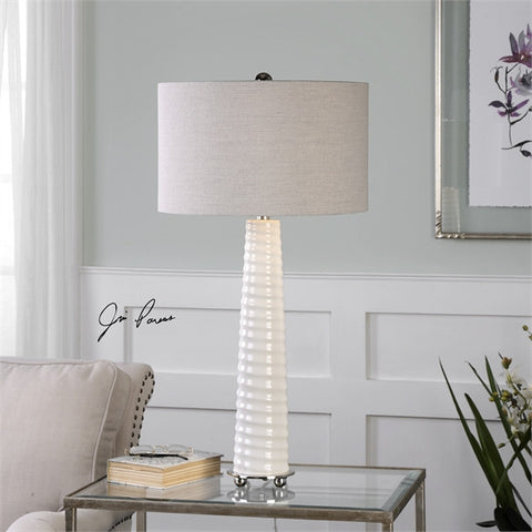 Uttermost Mavone Gloss White Table Lamp (27135-1) - UTMDirect