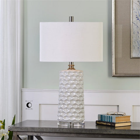 Uttermost Sesia White Honeycomb Table Lamp (27142-1) - UTMDirect