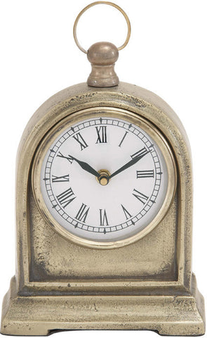 "Bayden Hill Alum Table Clock 6""W, 10""H - Peazz.com"