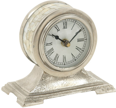 "Bayden Hill Alum Table Clock 6""W, 5""H - Peazz.com"