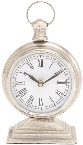 "Bayden Hill Alum Table Clock 5""W, 9""H - Peazz.com"