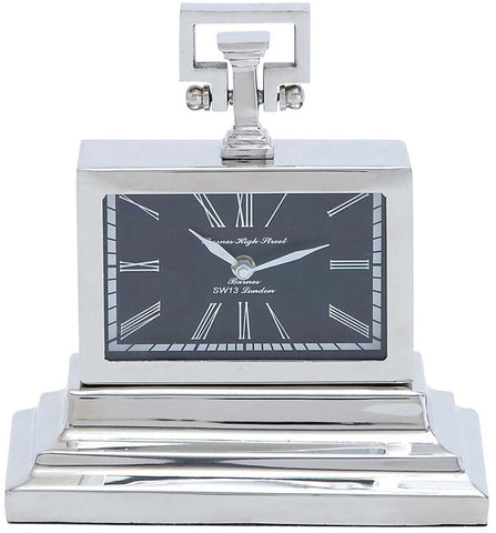 Benzara 27851 Nickel Plated Table Clock With Three Tiered Base