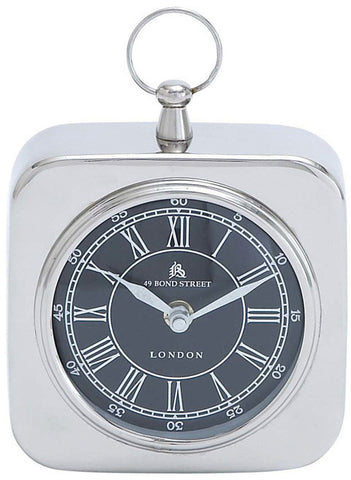 Benzara 27854 Nickel Plated Table Clock With Modern Detailing