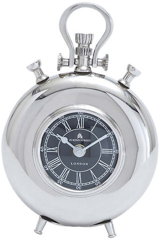 "Bayden Hill Alum Nickel Table Clock 8""H, 6""W - Peazz.com"