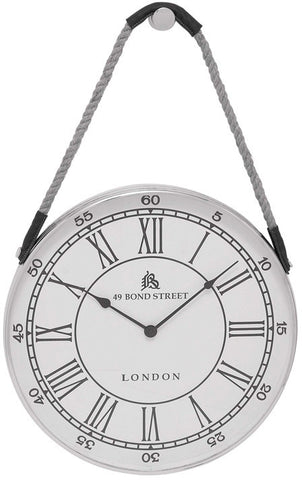 Benzara 27867 Metal Hanging Wall Clock With Attached Rope Fitted With Leather Straps (Large)