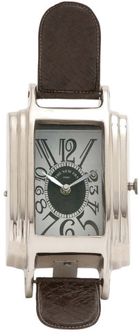"Bayden Hill Alum Lthr Table Clock 6""W, 11""H - Peazz.com"