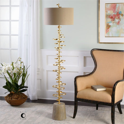 Uttermost Lostine Modern Gold Floor Lamp (28094) - UTMDirect