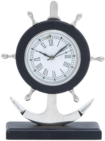 "Bayden Hill Alum Anchor Clock 13""H, 10""W - Peazz.com"