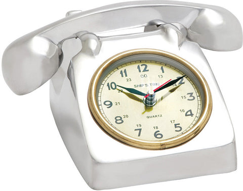 "Bayden Hill Alum Table Clock 9""W, 4""H - Peazz.com"