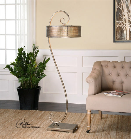 Uttermost Dalou Scroll Silver Floor Lamp (28599) - UTMDirect