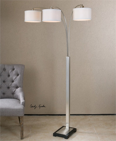 Uttermost Bradenton Nickel 3 Light Floor Lamp (28641-1) - UTMDirect