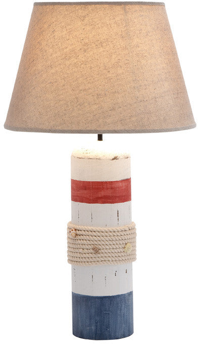 Benzara 28750 Stylish White Wooden Buoy Table Lamp With Red And Blue Band