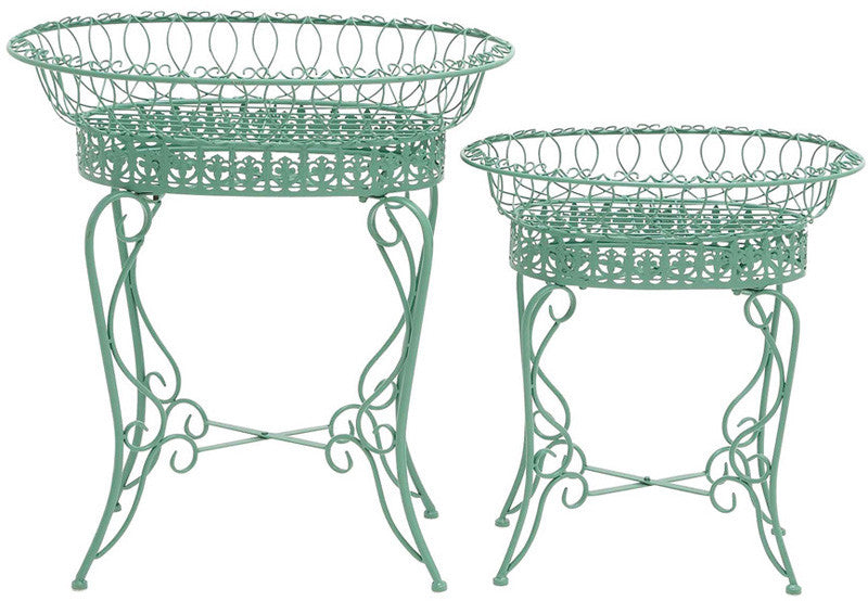 Benzara 28948 The Intricate Set Of 2 Metal Plant Stand