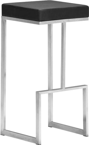 Zuo Modern 300045 Darwen Barstool Color Black Brushed Stainless Steel Finish - Set of 2 - BarstoolDirect.com - 1
