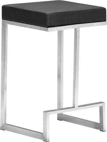 Zuo Modern 300048 Darwen Counter Stool Color Black Brushed Stainless Steel Finish - Set of 2 - BarstoolDirect.com - 1